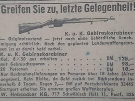 "Anzeige der Fa. Hebsacker ""KuK Gebirgsjägerkarabiner"""